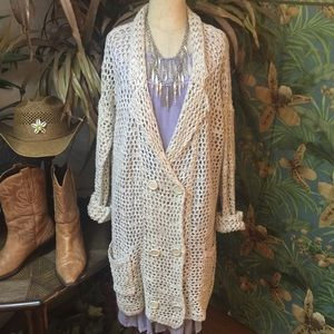 """Free People"" double breasted open knit cardigan-L"